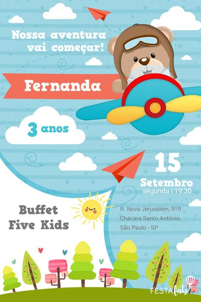 Convite de cha de bebe - Urso Aviador