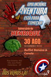 Convite de aniversario - Vingadores