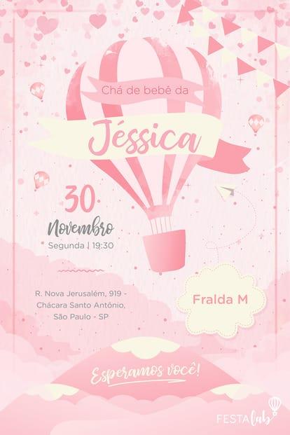 Convite de Cha de Bebe - Balao Rosa