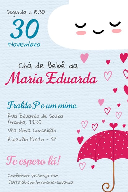 Convite de cha de bebe - Chuva de amor