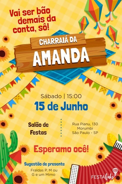 Convite de Cha de Bebe - Festa Junina