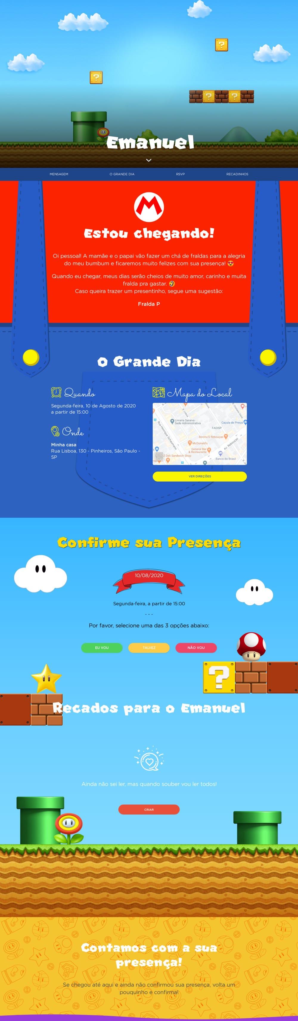 Vibe de Cha de fraldas - Mario Bros.