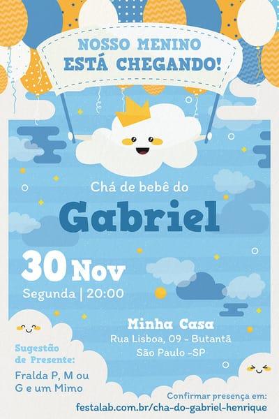 Convite de Cha de Bebe - Nuvem