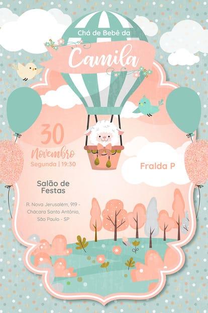 Convite de Cha de Bebe - Ovelha Baloeira