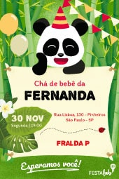 Convite de cha de bebe - Panda