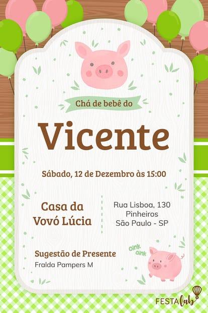 Convite de Porquinhos para Editar