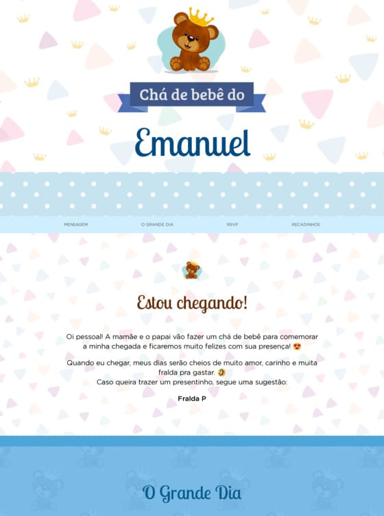 Fazer Convite de Cha de bebe Gratis