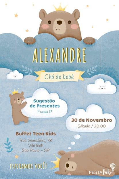 Convite de Cha de Bebe - Ursinho Principe