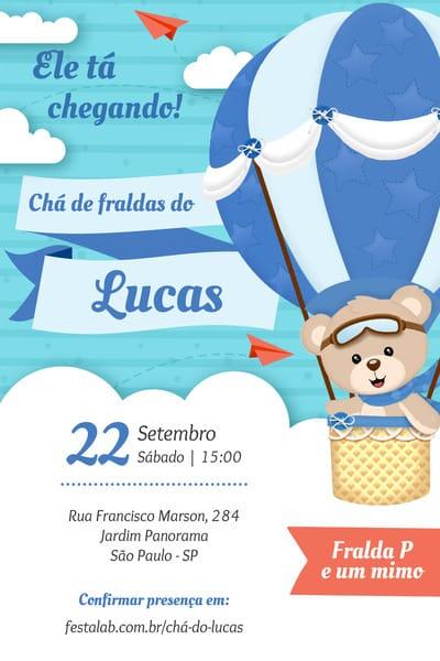 Convite de cha de bebe - Urso Baloeiro
