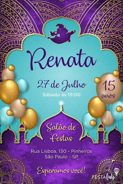 Convite de Aniversario - Aladdin