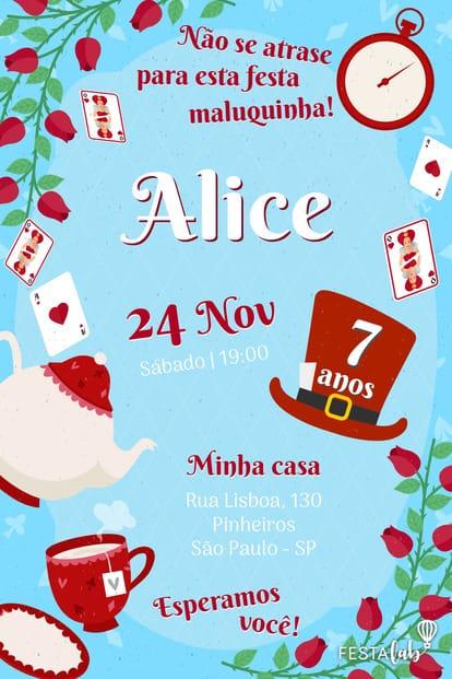 Convite de Aniversario - Alice no Pais das Maravilhas