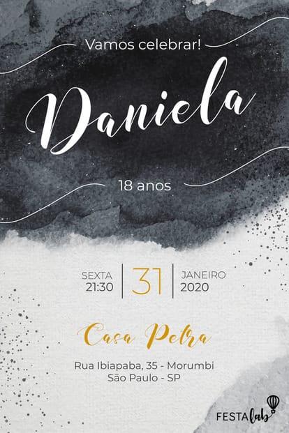 Convite de Aniversario - Aquarela Preto