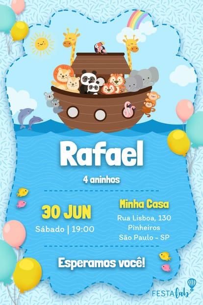 Convite de Aniversario - Arca de Noe