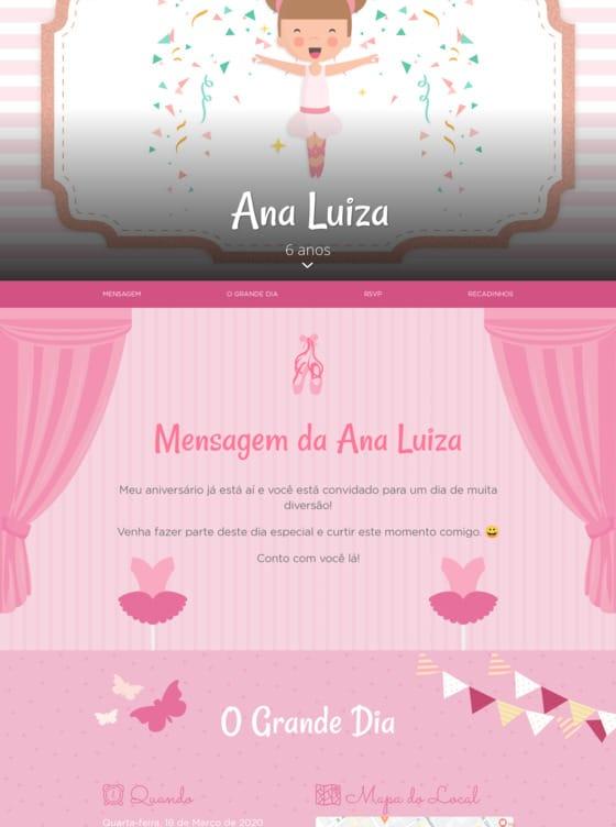 Convite Bailarina para Editar