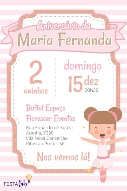 Convite de aniversario - Bailarina