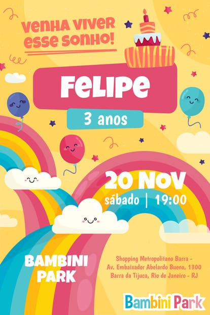 Convite de Aniversario - Bambini Park