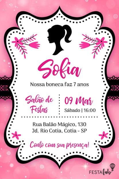 Convite de Aniversario - Barbie