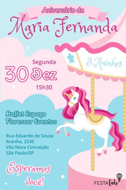 Convite de aniversario - Carrossel Encantado