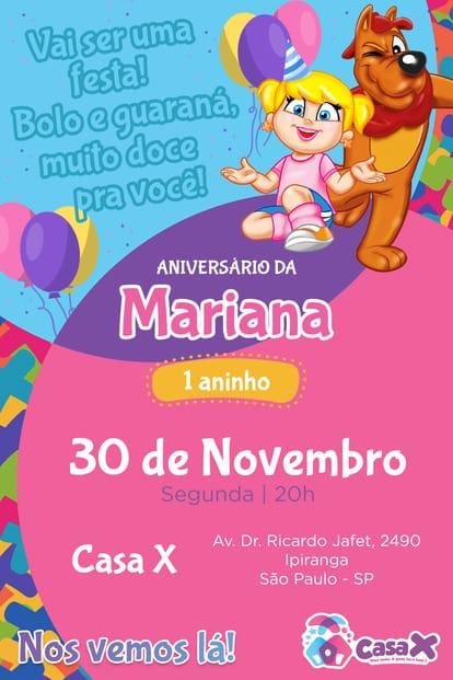 Convite de aniversario - Casa X
