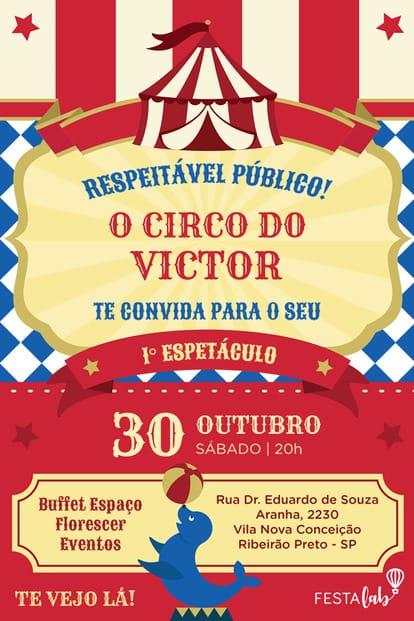 Convite de aniversario - Circo
