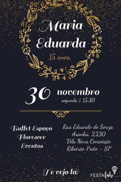 Convite de aniversario - Festa de 15 Anos
