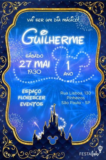 Convite de Aniversario - Disney