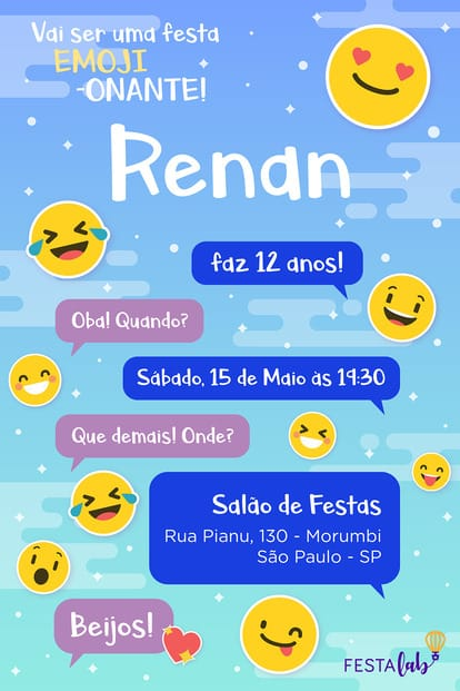 Convite de Aniversario - Emoji