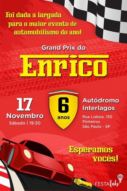 Convite Ferrari para editar