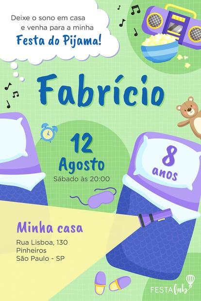 Convite Festa do Pijama para Editar