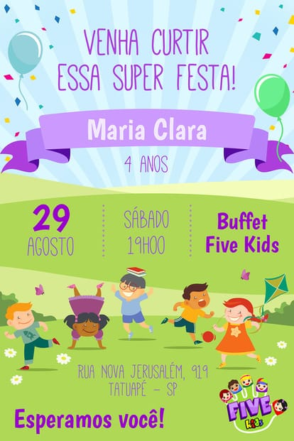 Convite de aniversario - Five Kids Menina