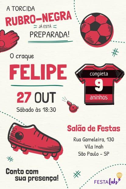 Convite de aniversario - Flamengo