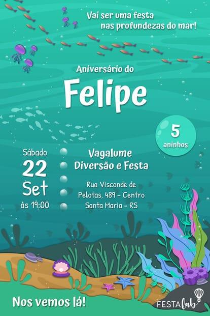 Convite de aniversario - Fundo do Mar