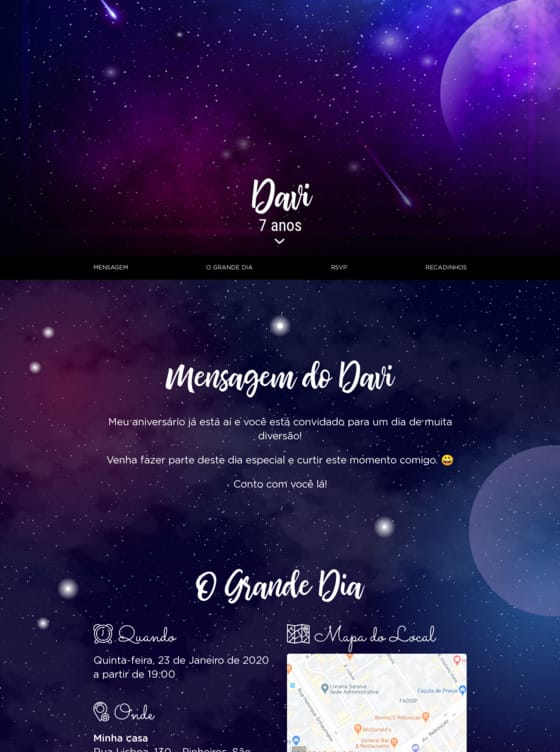 Website de aniversario - Galaxia