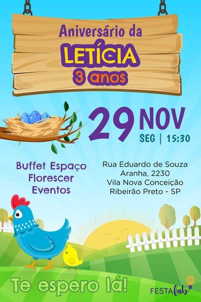 Convite de aniversario - Galinha Pintadinha