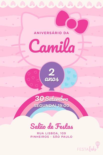 Convite de Aniversario - Hello Kitty