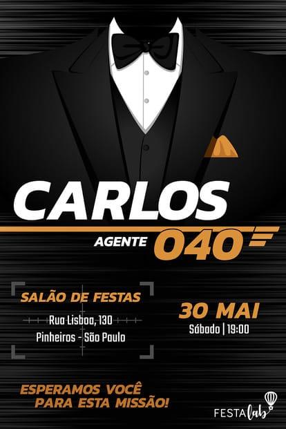 Convite de Aniversario - James Bond - 007
