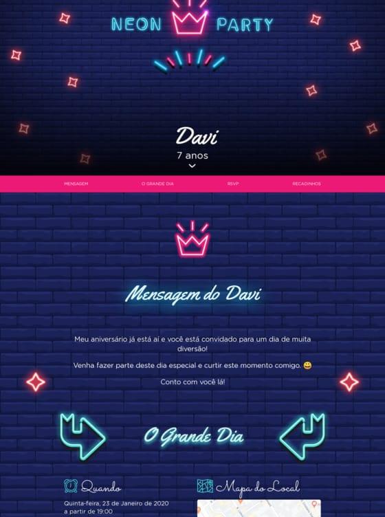 Convite Neon para Editar
