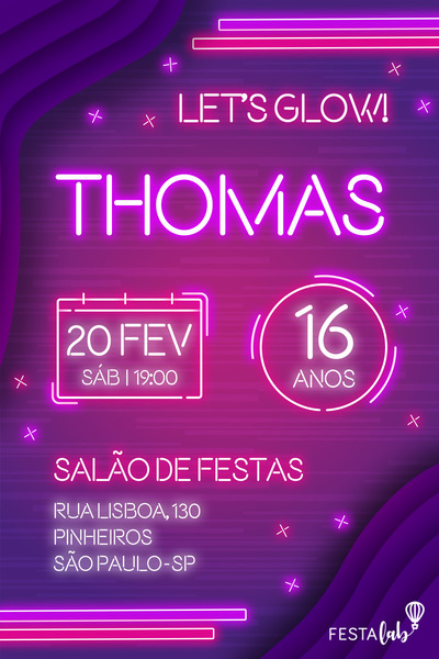 Convite Neon Festalab