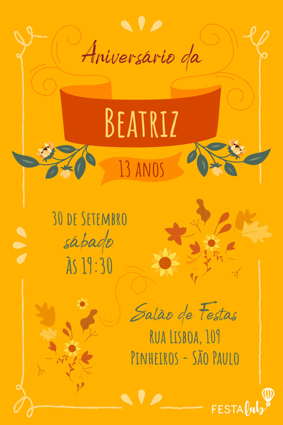 Convite de Aniversario - Outono