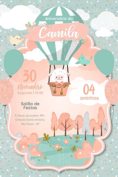 Convite de Aniversario - Ovelha Baloeira