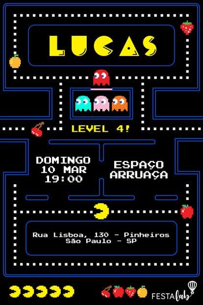 Convite de Aniversario - Pac-Man