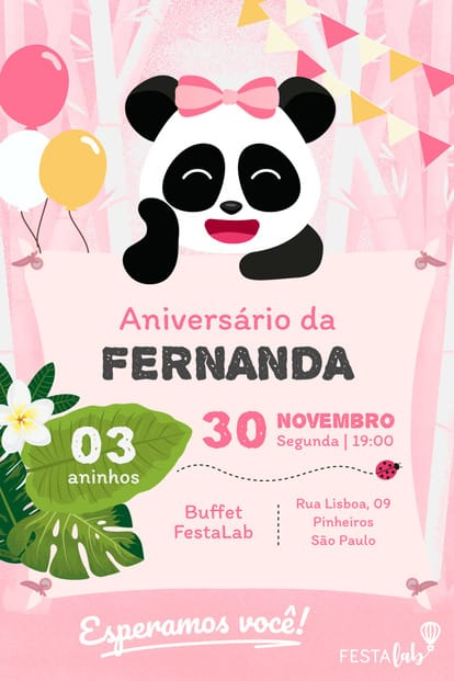 Convite de Aniversario - Panda