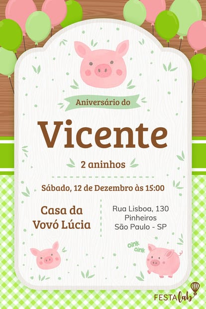 Convite de Aniversario - Porquinhos