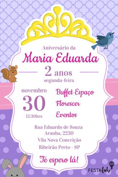 Convite de aniversario - Princesa Sofia