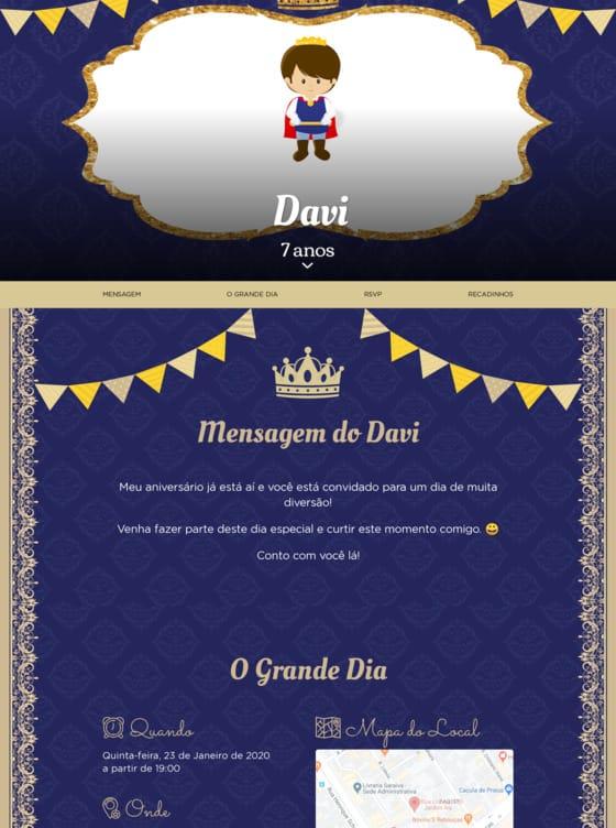 Convite Principe Realeza para Editar