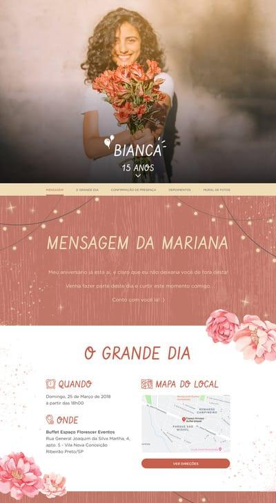 Convite de Debutante para Editar