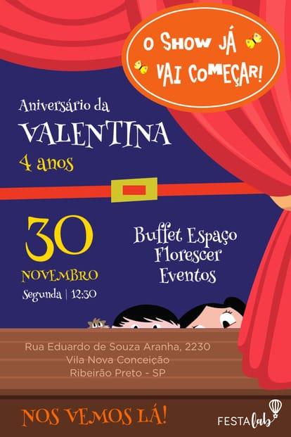 Convite de aniversario - Show da Luna