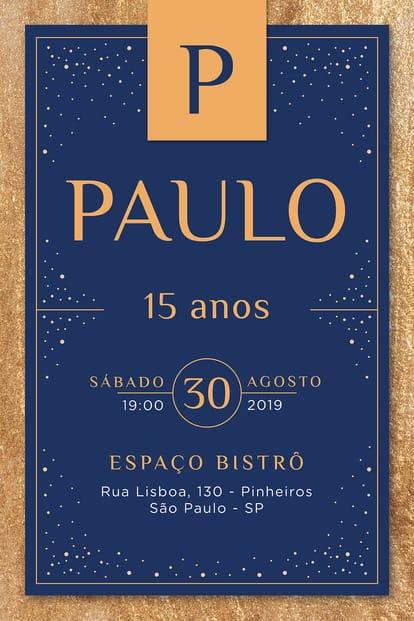 Convite de Aniversario - Debutante - Sofisticado