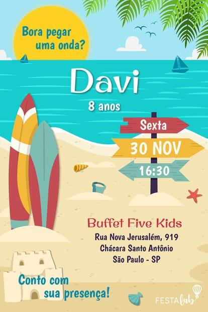 Convite de aniversario - surf