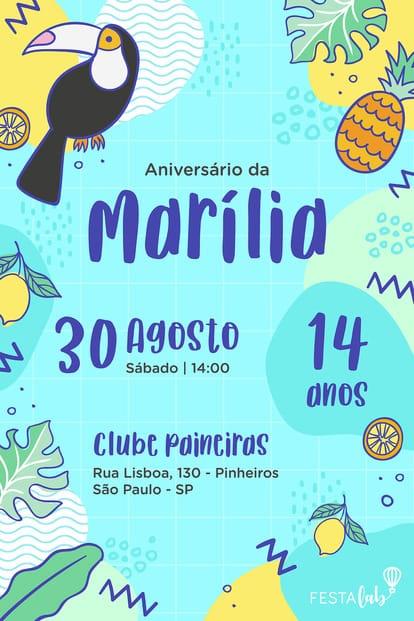 Convite de 15 Anos - Tucano Tropical